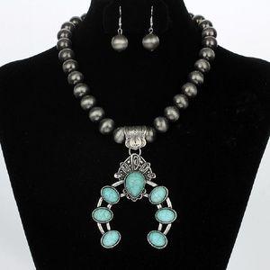 Antiqued Turquoise Silver Squash Blossom Set